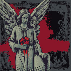 vector grunge background with a grieving angel