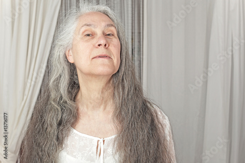 Elderly Person With Long Hair Stock Photo And Royalty Free Images