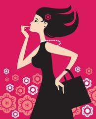 Illustration of fashion shopping girl