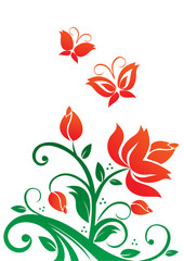 Illustration of red flowers and butterflies