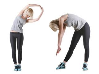 yong girl doing exercise