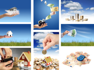 Invest in real estate. Business collage.