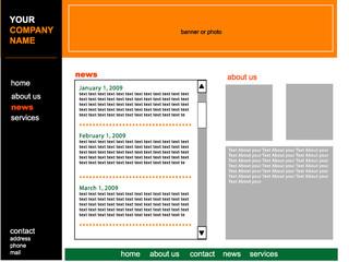 Vector black and orange  web site design template
