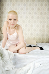 young attractive bald blond woman