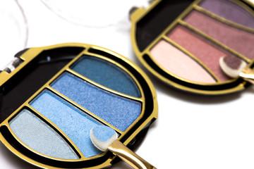 blue and pink make-up eyeshadows