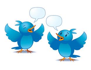 vector illustration of two blue birds talking