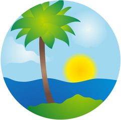 Summer palm island vector scene