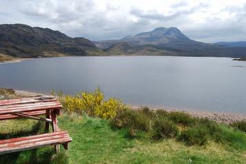 Picnic table at a beautiful lake