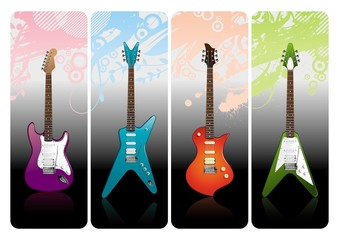Four electro guitars