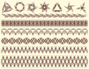 six decorative lines and seven decorative elements, vector