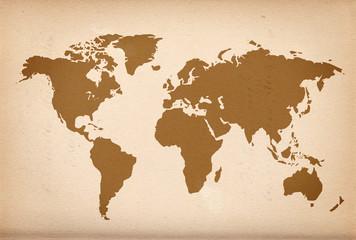 Weltkarte auf altem Papier