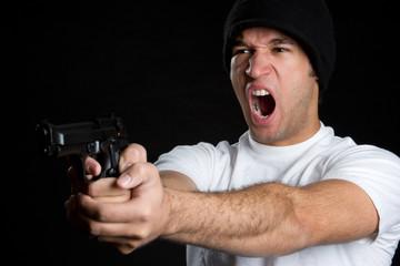 Black Man Holding Gun