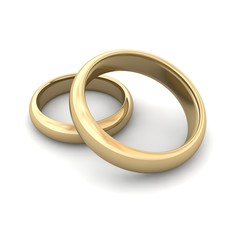 Golden wedding rings. 3d rendered illustration.