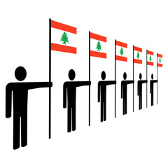 men with Lebanese flags