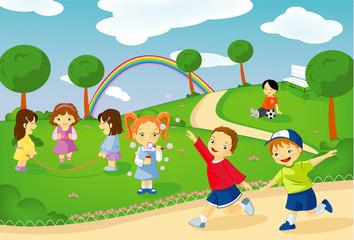 Poster Regenboog Bambini al parco