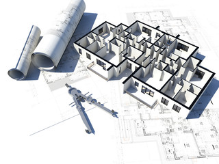 3D image of a floorplan and some blueprints