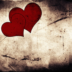 two hearts on vintage grunge background