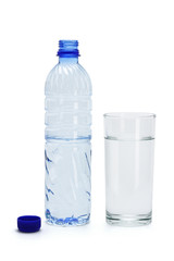 Mineral water in a glass and bottle