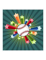 Baseball with star burst