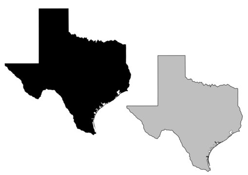 Texas map. Black and white. Mercator projection.