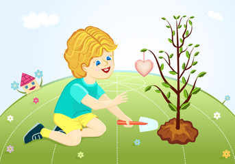 Save our green planet - young boy planting trees
