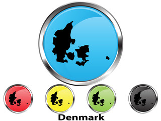 Glossy vector map button of Denmark