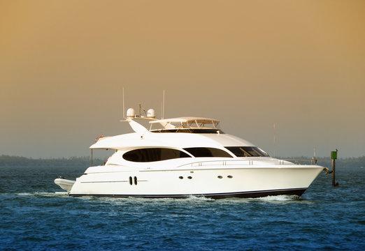 Luxury yacht returning back to port