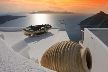 Spoed Fotobehang Santorini Atardecer con ánfora