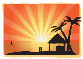 couple sitting on the coat, tropical sunset vector
