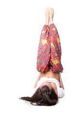 yoga girl isolated on white