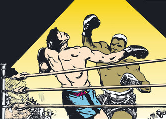 Fototapeta boxing match, a boxer hits his opponent obraz