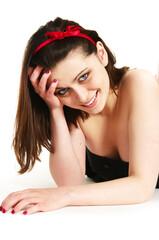 teenage girl lying on floor