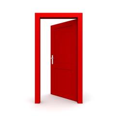 Open Single Red Door