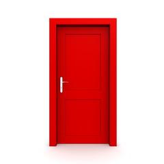 Closed Single Red Door