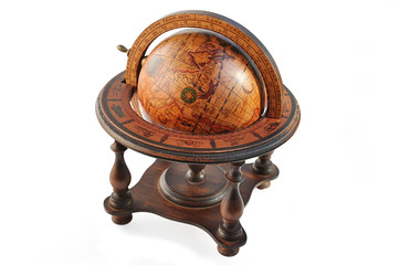 Old wood globe isolated over white with clipping path.