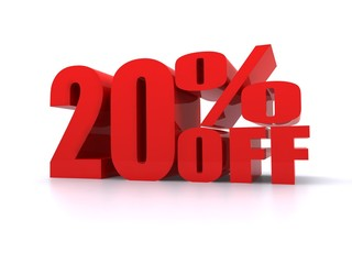 20% Percent off promotion sign