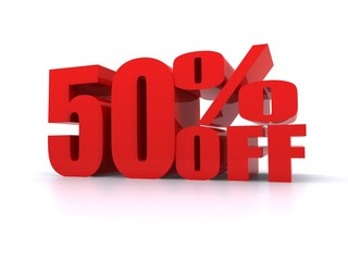 50% Percent off promotion sign