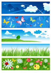 Five banners of  summertime