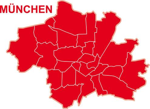 Karte mit Bezirtken von München