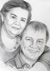 pencil drawn of portrait of middle-aged couple