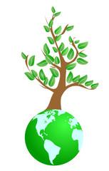 Illustration of tree on green planet