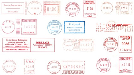 Usa and europe,  postmarks background