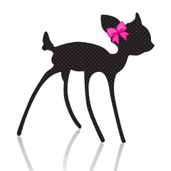 bambi silhouette with pink bow ribbon