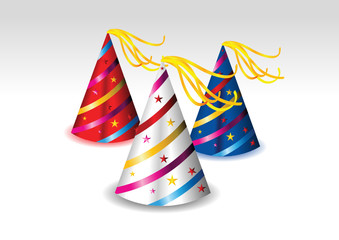 colorful party hats vector illustration in white background