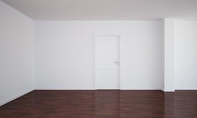Empty room with a closed door and dark floor