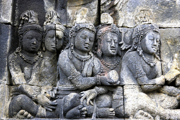 Fototapete - Bas-Relief at Borobudur Temple, Indonesia