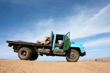 lorry in a desert, Mongolia