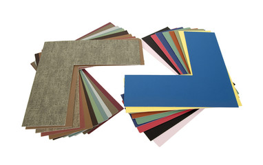 Matboard samples fanned out