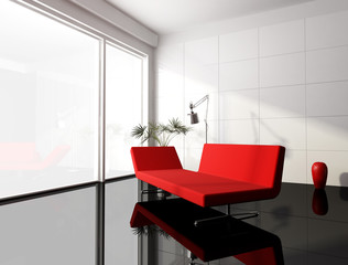 minimal red and white living room -rendering