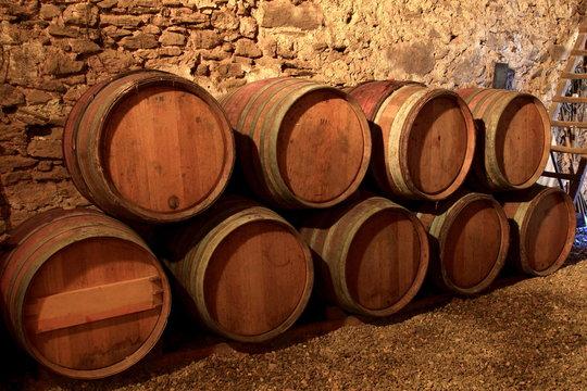 Weinfässer, Holzfässer, Weinkeller, Languedoc Roussilion